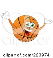 Friendly Basketball Character Holding His Arms Up