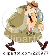 Royalty Free RF Clipart Illustration Of A Chubby Caucasian Detective Man Using A Magnifying Glass And Walking