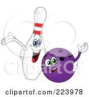 Royalty Free RF Clipart Illustration Of Cheerful Bowling Ball And Pin Characters