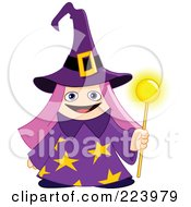 Royalty Free RF Clipart Illustration Of A Cute Pink Haired Wizard Girl In A Purple Hat And Cloak Holding A Magic Wand by yayayoyo