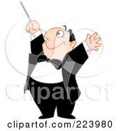Royalty Free RF Clipart Illustration Of A Happy Chubby Music Composer Man Holding His Arms And Baton Up by yayayoyo
