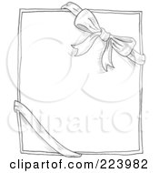 Royalty Free RF Clipart Illustration Of A Doodle Sketch Of A Bow And Ribbon Around A Box Or Paper