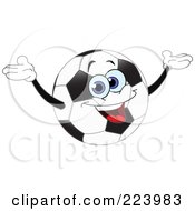 Cheerful Soccer Ball Character Holding His Arms Up
