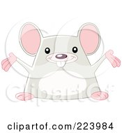 Royalty Free RF Clipart Illustration Of A Cute Happy Mouse Holding His Arms Open by yayayoyo