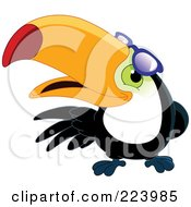 Royalty Free RF Clipart Illustration Of A Friendly Toucan Bird Looking Under His Shades by yayayoyo