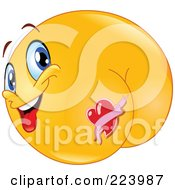 Royalty Free RF Clipart Illustration Of A Yellow Emoticon With A Heart Tattoo On His Butt
