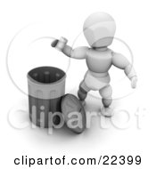 White Character Tossing A Metal Can Into A Chrome Trash Bin