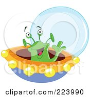 Cute Green Alien Waving And Flying A Saucer