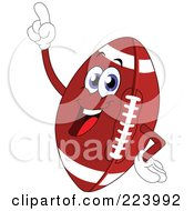 Royalty Free RF Clipart Illustration Of A Cheerful Football Character Pointing Upwards by yayayoyo