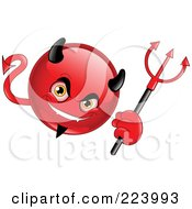 Royalty Free RF Clipart Illustration Of An Emoticon Devil Holding A Trident