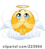 Royalty Free RF Clipart Illustration Of A Yellow Emoticon Angel Sitting On A Cloud by yayayoyo