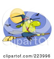 Royalty Free RF Clipart Illustration Of A Happy Halloween Witch Flying Fast On Her Broomstick by Hit Toon