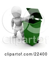 Clipart Illustration Of A Responsible White Character Dropping A Tin Can Into A Green Recycle Bin by KJ Pargeter
