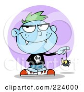 Royalty Free RF Clipart Illustration Of A Blue Vampire Boy Playing With A Spider by Hit Toon
