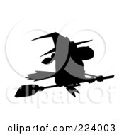 Royalty Free RF Clipart Illustration Of A Silhouetted Witch Flying Fast On Her Broomstick