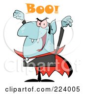 Royalty Free RF Clipart Illustration Of A Blue Vampire Yelling Boo And Holding Up His Arms by Hit Toon