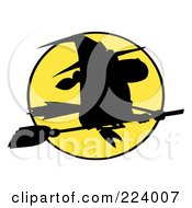 Royalty Free RF Clipart Illustration Of A Silhouetted Witch Flying Fast In Front Of A Full Yellow Moon