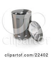 Clipart Illustration Of A Tall Metal Garbage Can With The Led Leaning Against The Side