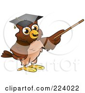 Royalty Free RF Clipart Illustration Of A Brown Owl Wearing A Graduation Cap And Using A Pointer Wand