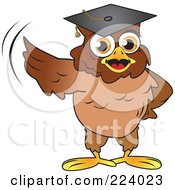 Royalty Free RF Clipart Illustration Of A Brown Owl Wearing A Graduation Cap And Presenting With A Wing by Vitmary Rodriguez