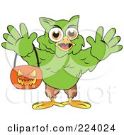 Royalty Free RF Clipart Illustration Of A Green Halloween Hulk Owl Holding A Pumpkin Basket