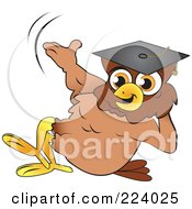 Royalty Free RF Clipart Illustration Of A Brown Owl Wearing A Graduation Cap And Reclined by Vitmary Rodriguez