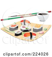 Royalty Free RF Clipart Illustration Of Asian Sushi Pieces On A Plate With Chopsticks And A Dipping Bowl