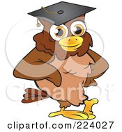 Royalty Free RF Clipart Illustration Of A Brown Owl Wearing A Graduation Cap And Leaning by Vitmary Rodriguez