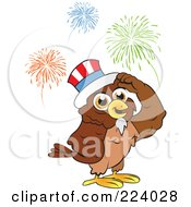Royalty Free RF Clipart Illustration Of A Brown Owl Wearing An American Hat And Standing Under Fireworks by Vitmary Rodriguez