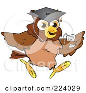 Royalty Free RF Clipart Illustration Of A Brown Owl Wearing A Graduation Cap And Listening To An Mp3 Player by Vitmary Rodriguez