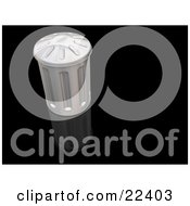 Clipart Illustration Of A Metal Garbage Can With The Lid On Resting On Top Of A Reflective Black Surface