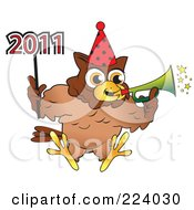 Royalty Free RF Clipart Illustration Of A Brown Owl Wearing A Party Hat Blowing A Horn And Holding A 2011 New Year Stick