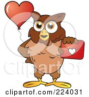 Royalty Free RF Clipart Illustration Of A Brown Owl Holding Out A Valentine Envelope And A Heart Balloon