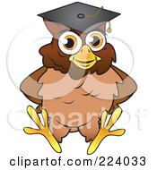 Royalty Free RF Clipart Illustration Of A Brown Owl Wearing A Graduation Cap And Sitting by Vitmary Rodriguez