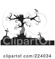 Royalty Free RF Clipart Illustration Of A Silhouette Of A Crow Perched On A Dead Tree Over Tombstones by Vitmary Rodriguez #COLLC224034-0040