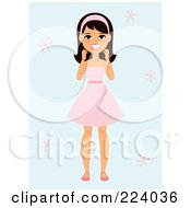 Royalty Free RF Clipart Illustration Of A Happy Girl Standing In A Pink Dress