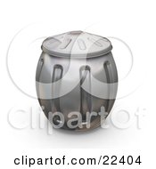 Clipart Illustration Of A Bulging Metal Trash Can With The Lid On