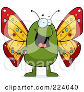 Royalty Free RF Clipart Illustration Of A Happy Green Butterfly by Cory Thoman
