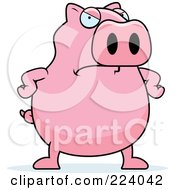 Royalty Free RF Clipart Illustration Of A Chubby Pink Pig With An Angry Expression