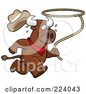 Royalty Free RF Clipart Illustration Of A Running Rodeo Bull With A Lasso by Cory Thoman