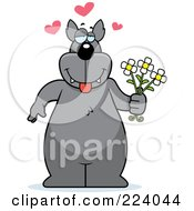 Royalty Free RF Clipart Illustration Of A Big Wolf Holding Flowers And Infatuated by Cory Thoman