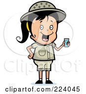 Royalty Free RF Clipart Illustration Of A Cute Safari Girl Drinking Water