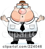 Royalty Free RF Clipart Illustration Of A Chubby Nerd Businessman Shrugging by Cory Thoman