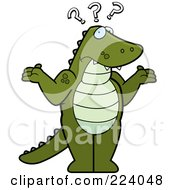 Royalty Free RF Clipart Illustration Of A Confused Standing Alligator Shrugging by Cory Thoman