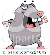 Royalty Free RF Clipart Illustration Of A Chubby Mole With An Idea by Cory Thoman