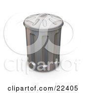 Clipart Illustration Of A Tall Metal Trash Can With A Lid On Top