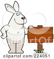 Royalty Free RF Clipart Illustration Of A Big Rabbit By A Wooden Sign