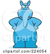 Royalty Free RF Clipart Illustration Of A Big Blue Aardvark Standing With His Hands On His Hips by Cory Thoman