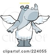 Royalty Free RF Clipart Illustration Of A Gray Angel Rhino With A Halo
