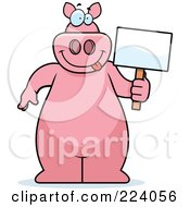 Big Pink Pig Holding A Small Blank Sign